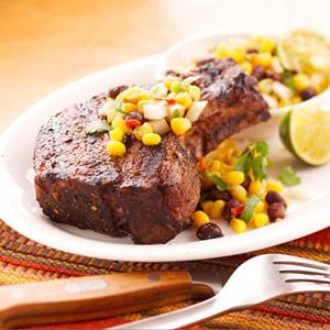Pork Steak with Mexican Bean Salsa