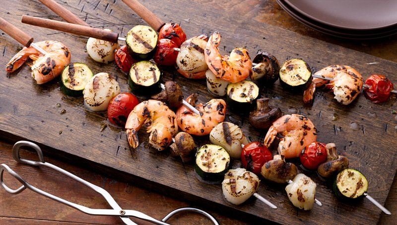 Seafood and Vegetable Skewers