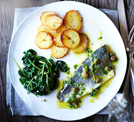 Baked Sea Bass With Lemon And Caper Dressing