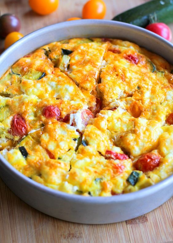 Courgette Noodle Frittata with Goats Cheese and Tomatoes