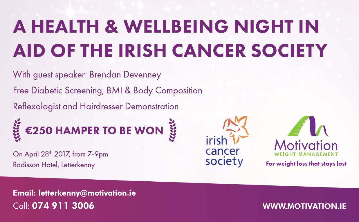 Health and wellbeing evening in aid of Irish Cancer society