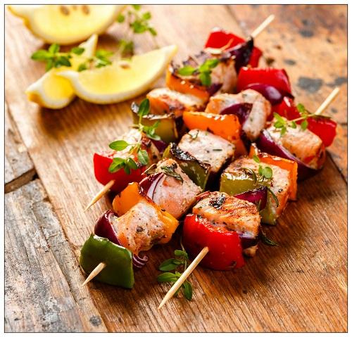 Baked Salmon and Vegetable Skewers