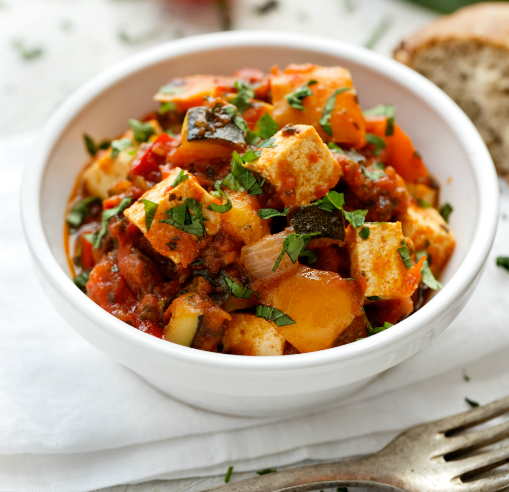 Low Fat Spiced Tofu Ratatouille
