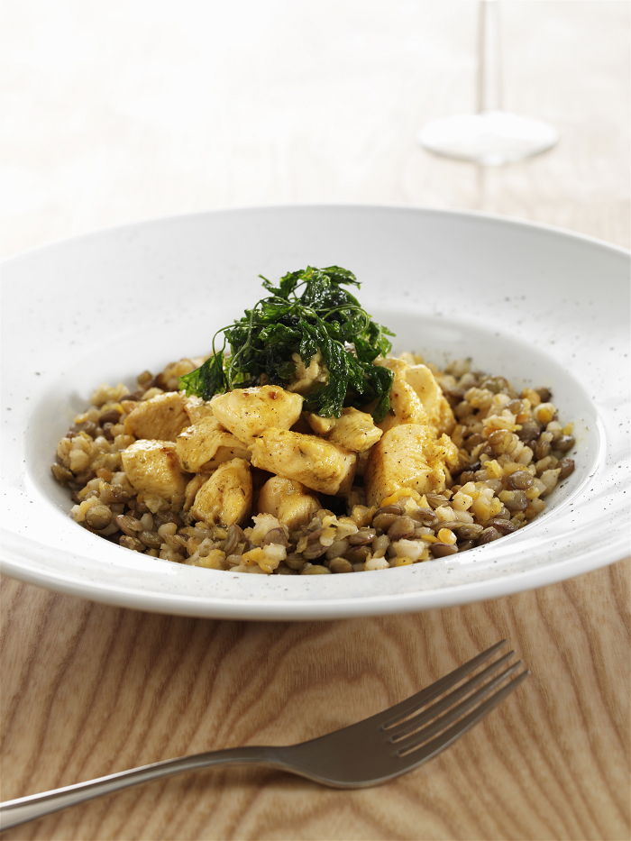 Sleepy Curried Lentils with Chicken