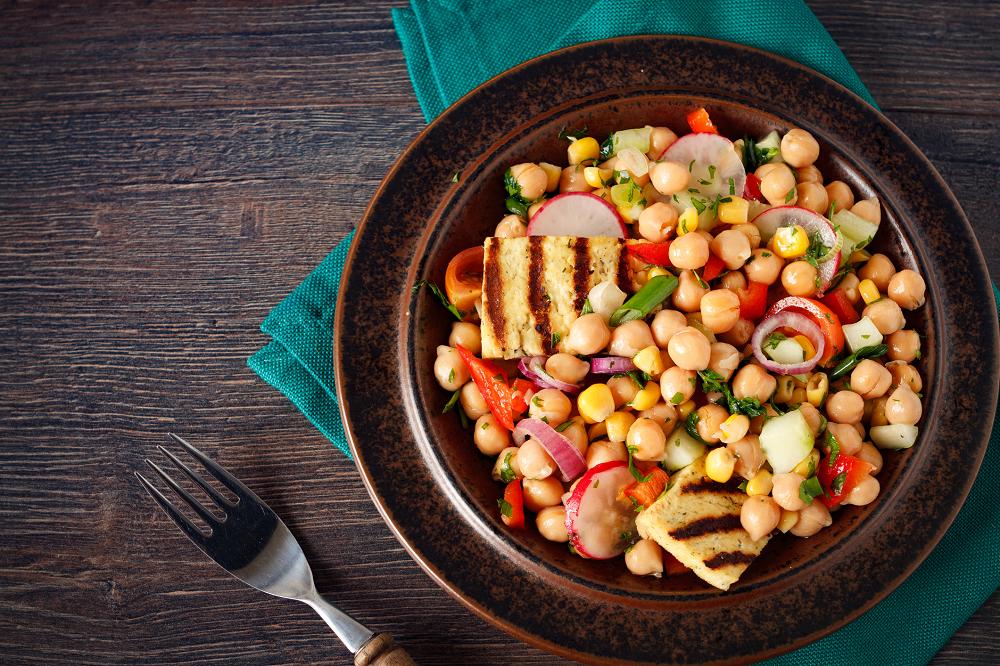 Grilled Tofu Chickpea Salad