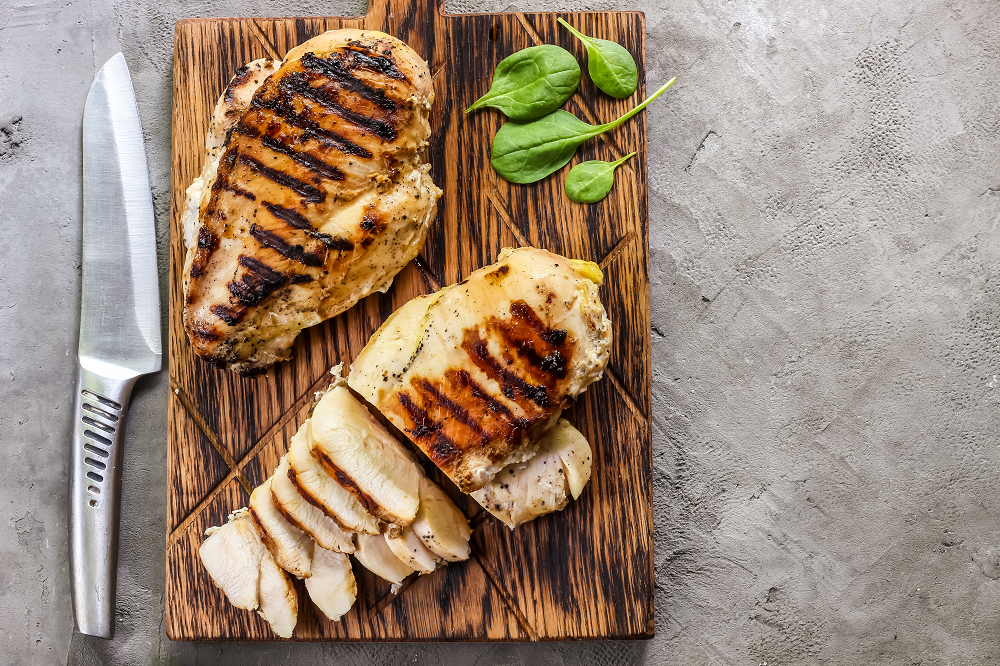 Grilled Chicken with Potato Wedges and Stir-fry Vegetables