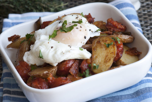 Sweet Potato, Chard and Turkey Sausage Hash With Poached Eggs